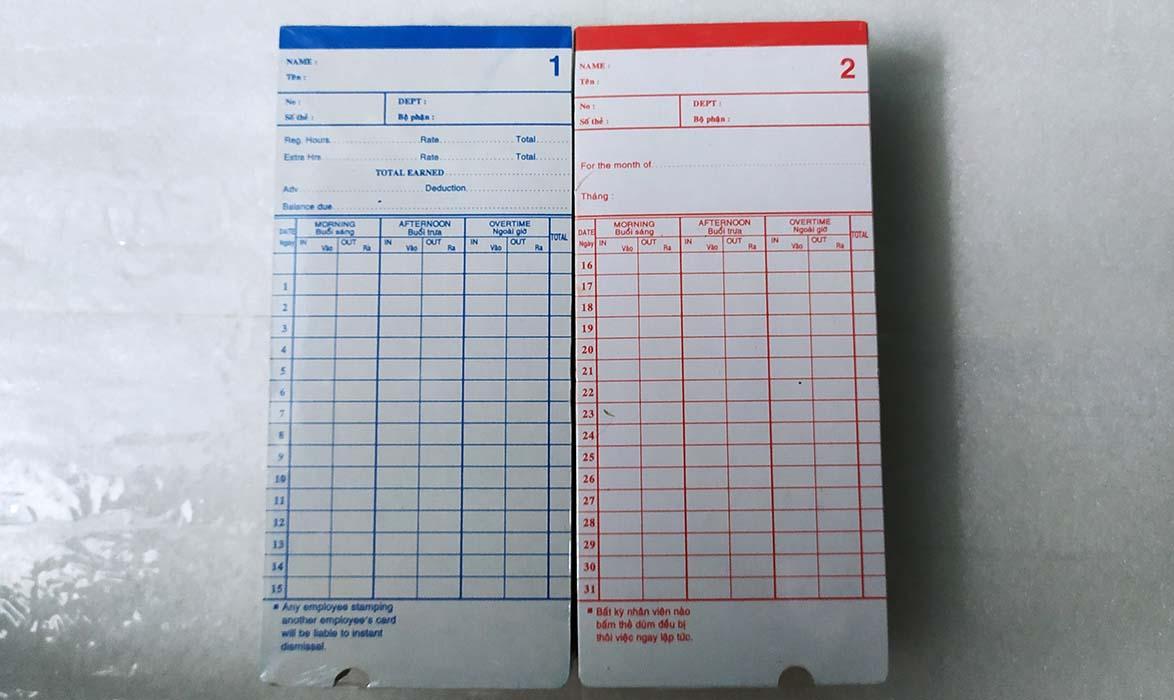 Thẻ giấy máy chấm công Ronald Jack RJ3300